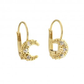 Yellow and white gold 18k 750/1000 with half moon openworked earrings