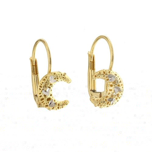Yellow and white gold 18k 750/1000 half moon shaped openworked earrings