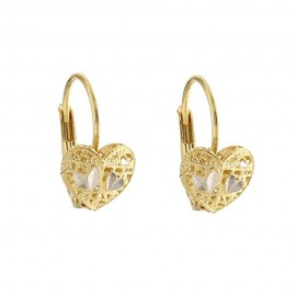 Yellow and white gold 18k 750/1000 heart shaped openworked earrings