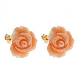 Authentic coral and yellow gold 18k 750/1000 rose shaped woman earrings