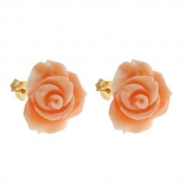 Orecchini a forma di rose in corallo autentico con chiusura in oro giallo 18k 750/1000