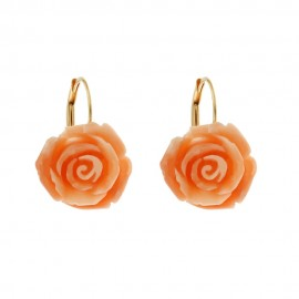 Authentic coral and yellow gold 18k 750/1000 leverback closure rose shaped woman earrings