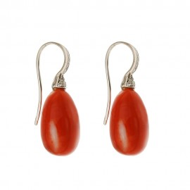 White gold 18k 750/1000 authentic red coral and diamonds drop shaped earrings