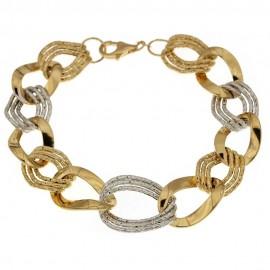 Bracciale in oro giallo e bianco 18k 750/1000 a catena lucido e martellato da donna