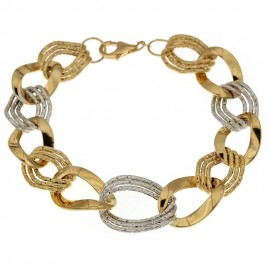 Yellow and white gold 18k 750/1000 Shiny and hammered link chain woman bangle