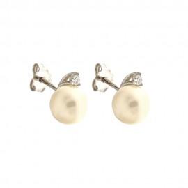 Orecchini in oro bianco 18 Kt 750/1000 con perle coltivate e zirconi da donna