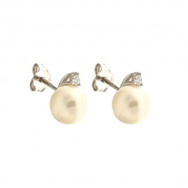 White gold 18k 750/1000 freshwater pearls and white cubic zirconia woman earrings