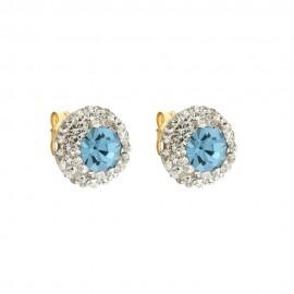 Orecchini tondi in oro giallo 18 Kt 750/1000 con pietra azzurra e zirconi bianchi da donna