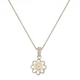 Collana in oro bianco 18 Kt 750/1000 con pendente a forma di fiore con perla centrale