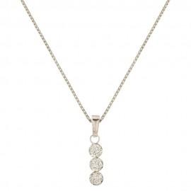 White gold 18k 750/1000 white cubic zirconia Trilogy woman necklace