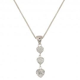 Collana in oro bianco 18 Kt 750/1000 con cuori e zirconi bianchi da donna