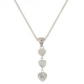 White gold 18k 750/1000 hearts with white cubic zirconia woman necklace