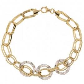 Bracciale a catena alternata da donna in oro giallo e bianco 18 Kt 750/1000