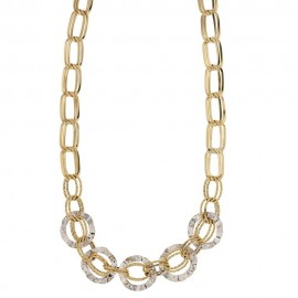 Yellow and white gold 18k 750/1000 shiny and hammered woman chain shaped necklace