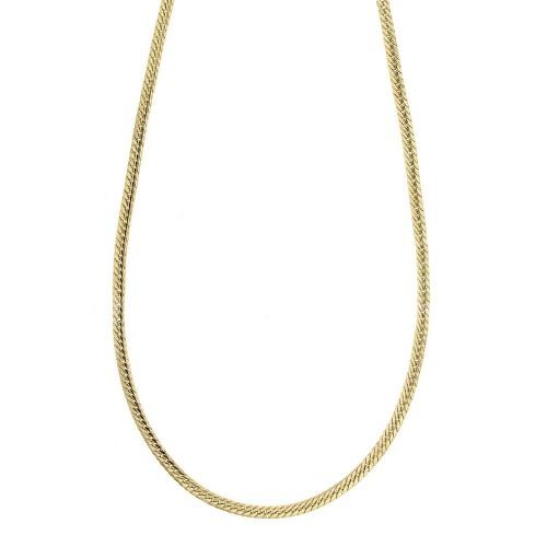 Collana in oro giallo 18k 750/1000 modello spiga piatta, lucida lunghezza 50 cm