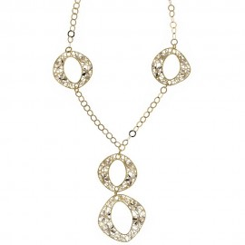 Gold 18k 750/1000 shiny and hammered woman necklace