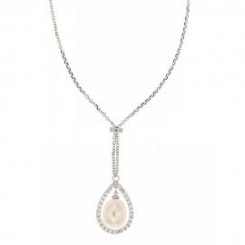 Girocollo in oro bianco 18 Kt 750/1000 con zirconi bianchi e perla naturale da donna