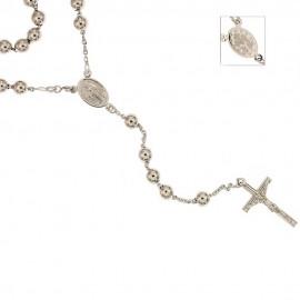 Collana rosario in oro bianco 18 Kt 750/1000 con sfere lisce lunghezza 60cm