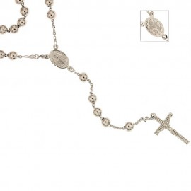 White gold 18k 750/1000 with shiny spheres rosary necklace