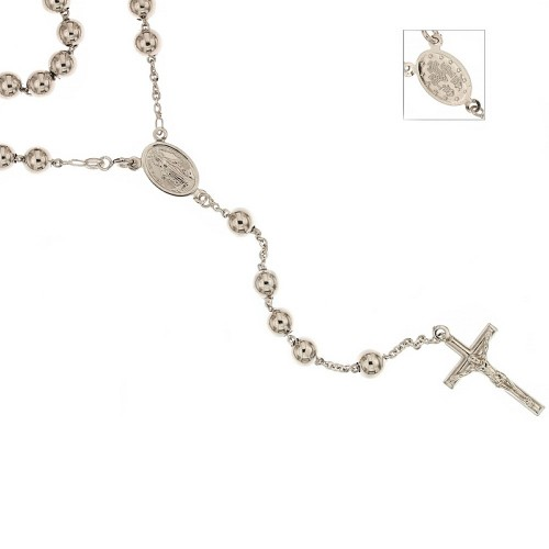 White gold 18k 750/1000 length 23.60 inch polished spheres rosary necklace
