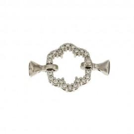Chiusura in oro bianco 18 Kt 750/1000 a forma di fiore ideale per collane di perle