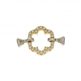 White and yellow gold 18k 750/1000 with white cubic zirconia flower shaped closure