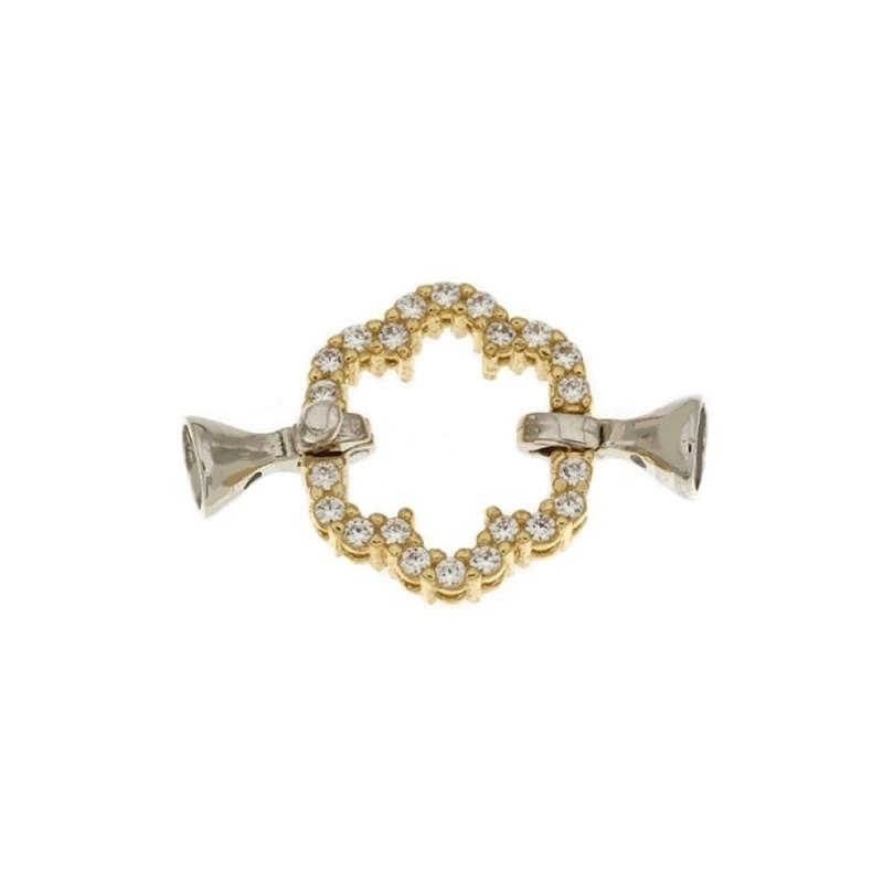 Chiusura in oro bianco e giallo 18 Kt 750/1000 a forma di fiore ideale per collane di perle
