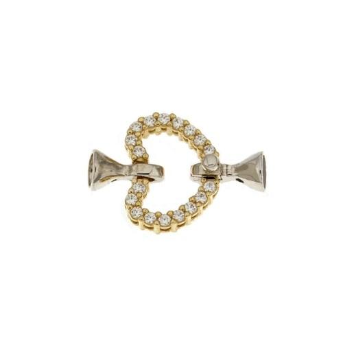 Chiusura in oro bianco e giallo 18 Kt 750/1000 a forma di cuore con zirconi bianchi