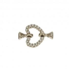 Chiusura in oro bianco 18 Kt 750/1000 a forma di cuore con zirconi bianchi