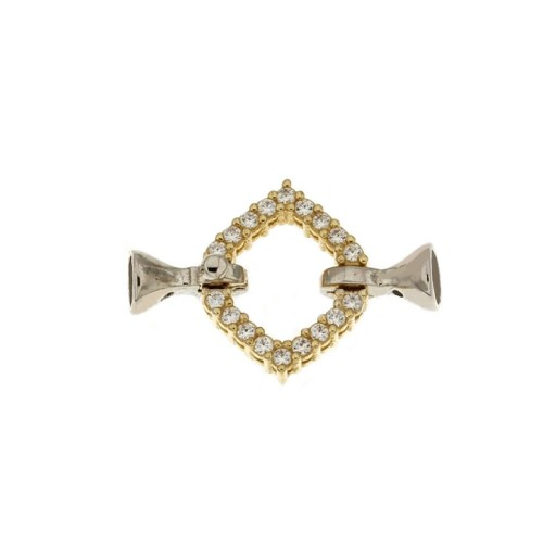 White and yellow gold 18k 750/1000 with white cubic zirconia rhombus shaped closure