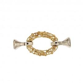 Chiusura in oro bianco e giallo 18 Kt 750/1000 a forma ovale, traforata, con due coppiglie