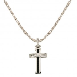 White gold 18 Kt 750/1000 with cross and black stone man necklace