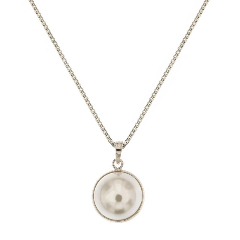 Collana in oro bianco 18 Kt 750/1000 con perla d'acqua dolce da donna