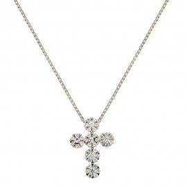 18k White gold cross pendant with white cubic zirconia woman necklace