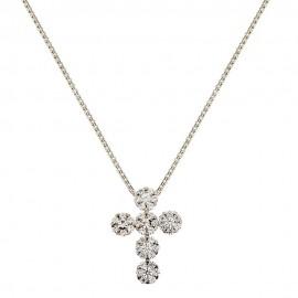 Collana da donna con croce e zirconi bianchi in oro bianco 18 Kt 750/1000