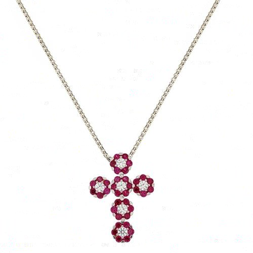 Collana da donna con croce e zirconi bianchi e rossi in oro bianco 18 Kt 750/1000