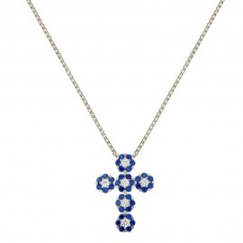 18k White gold cross pendant with blue and white cubic zirconia woman necklace