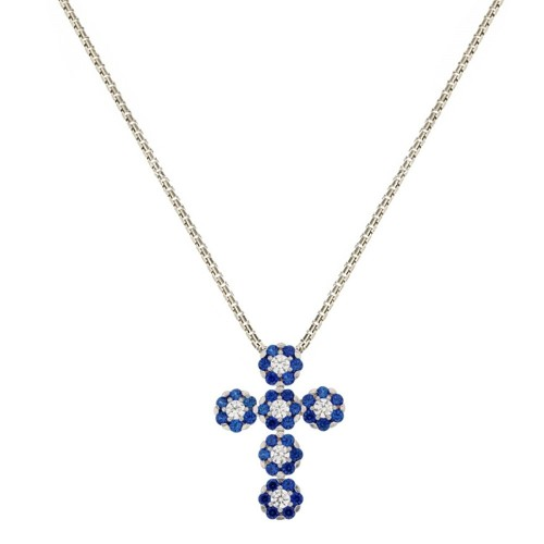 Collana da donna con croce e zirconi bianchi e blu in oro bianco 18 Kt 750/1000