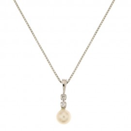 18k 750/1000 White gold freshwater pearl and zirconia woman necklace