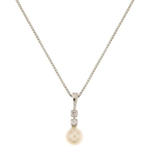 Collana in oro bianco 18 Kt 750/1000 con perla naturale e zirconi da donna
