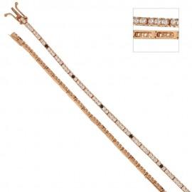 Bracciale Tennis in oro rosa 18 Kt 750/1000 con zirconi bianchi e neri da donna