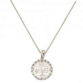 18k 750/1000 White gold with cubic zirconia and tree of life pendant woman necklace