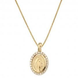Collana in oro giallo 18 Kt 750/1000 con Madonna Miracolosa da donna