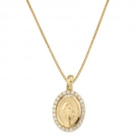 Yellow gold 18k 750/1000 with Virgin Mary pendant woman necklace