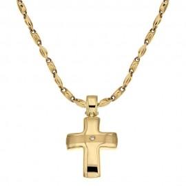 Collana con croce in oro giallo 18 Kt 750/1000 da uomo
