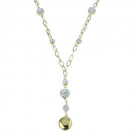 18k 750/1000 Yellow gold with white cubic zirconia woman necklace