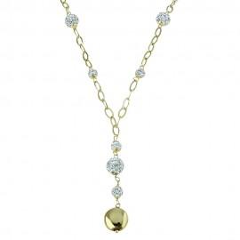 Collana da donna in oro giallo 18 Kt 750/1000 con sfere in resina e zirconi bianchi