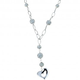 18k 750/1000 White gold with heart pendant and white cubic zirconia woman necklace