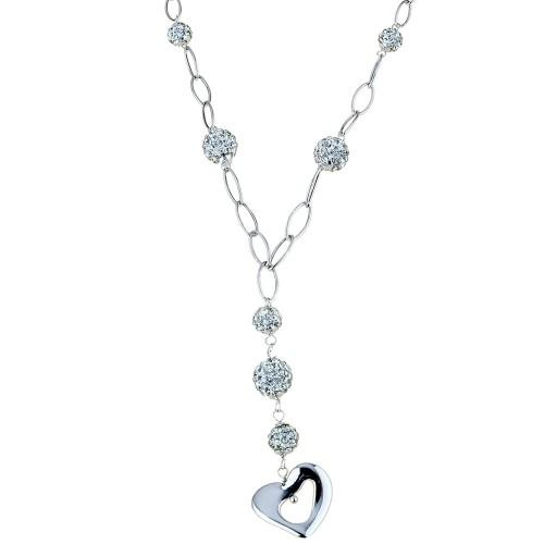 Collana da donna in oro bianco 18 Kt 750/1000 con pendente a forma di cuore e zirconi bianchi da donna