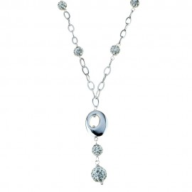 18k 750/1000 White gold with white cubic zirconia woman necklace